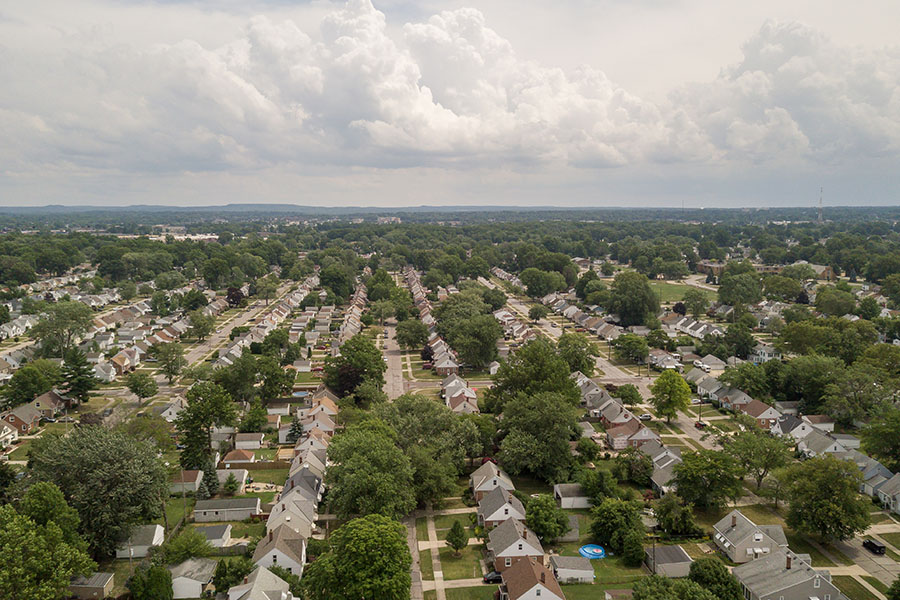 Berea OH - View of the Suburbs in Berea Ohio